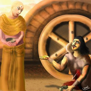 karna story final donation mahabharatha, karna last moments near chariot and krishna