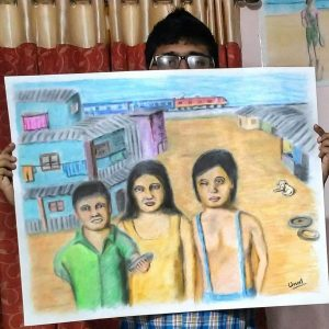 slum kids painting oil pastels and color pencils