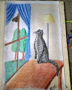 my pet cat oil pastel painting