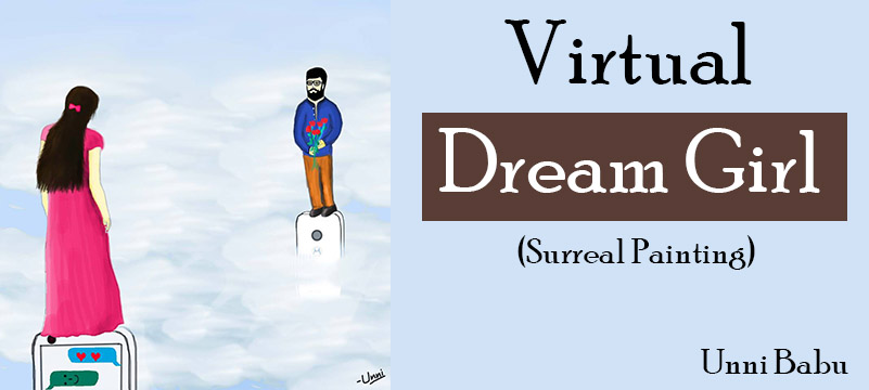 the virtual dream girl, lovers surreal painting