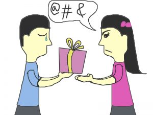 ungrateful people clipart art, boy and girl gift