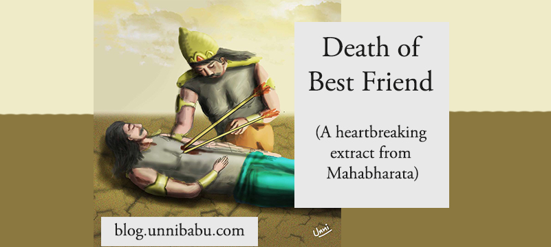 death of best friend, karna duryodhana friendship, duryodhana crying on karna's death artwork