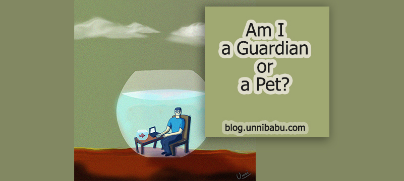am i guardian or pet, surreal fish bowl art