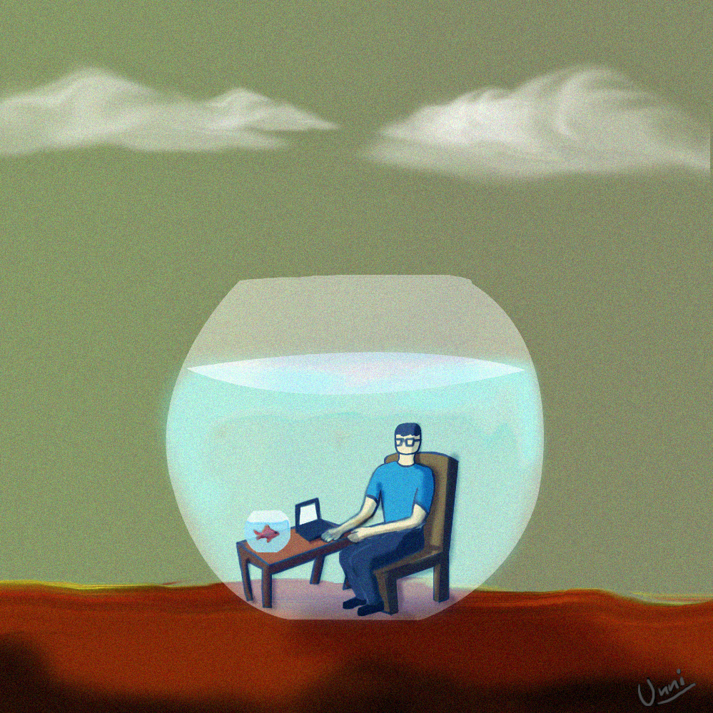am i guardian or pet, lonely surreal art, goldfish art