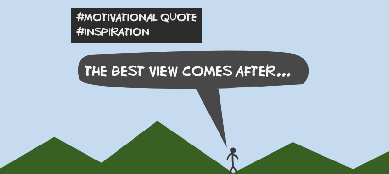 the best view comes after... motivational and inspirational quote about hardwork