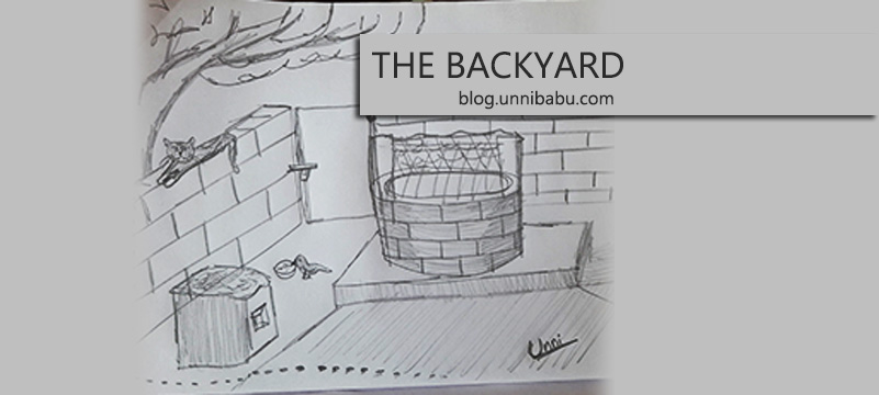 the backyard pencil drawing
