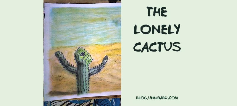 the lonely cactus surreal painting